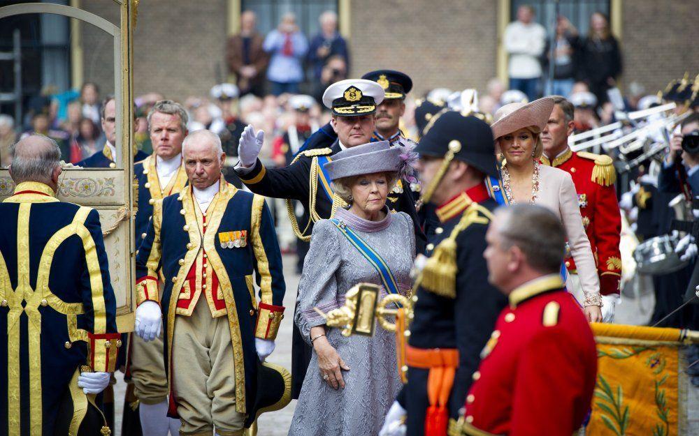 Koningin Beatrix bij de Gouden Koets op Prinsjesdag 2010. Foto ANP