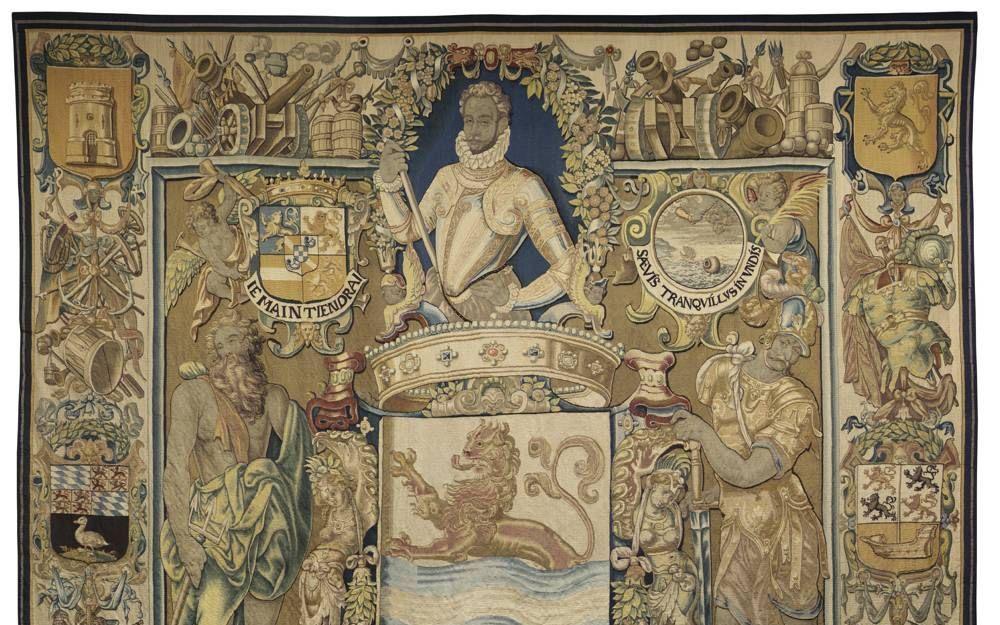 Willem van Oranje op een wandtapijt met medaillon. Foto Zeeuws Museum