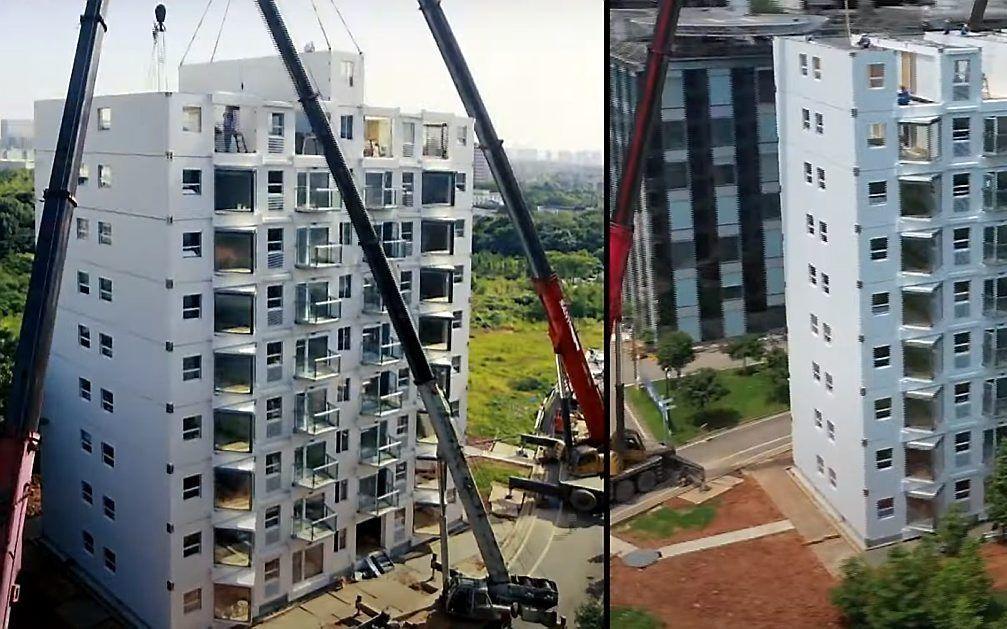 Het Chinese bedrijf Broad Group bouwde in 28 uur en 45 minuten een complete woonflat van tien verdiepingen.  beeld Broad Group