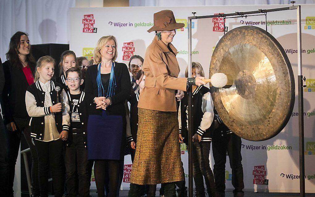 Koningin Máxima opent dinsdagochtend de Nationale Onderwijstentoonstelling in de Jaarbeurs in Utrecht. beeld ANP