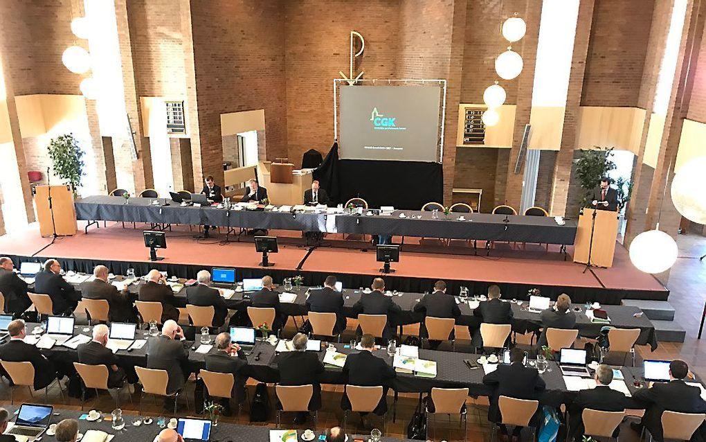 De generale synode van de Christelijke Gereformeerde Kerken, dinsdag in Nunspeet. beeld RD