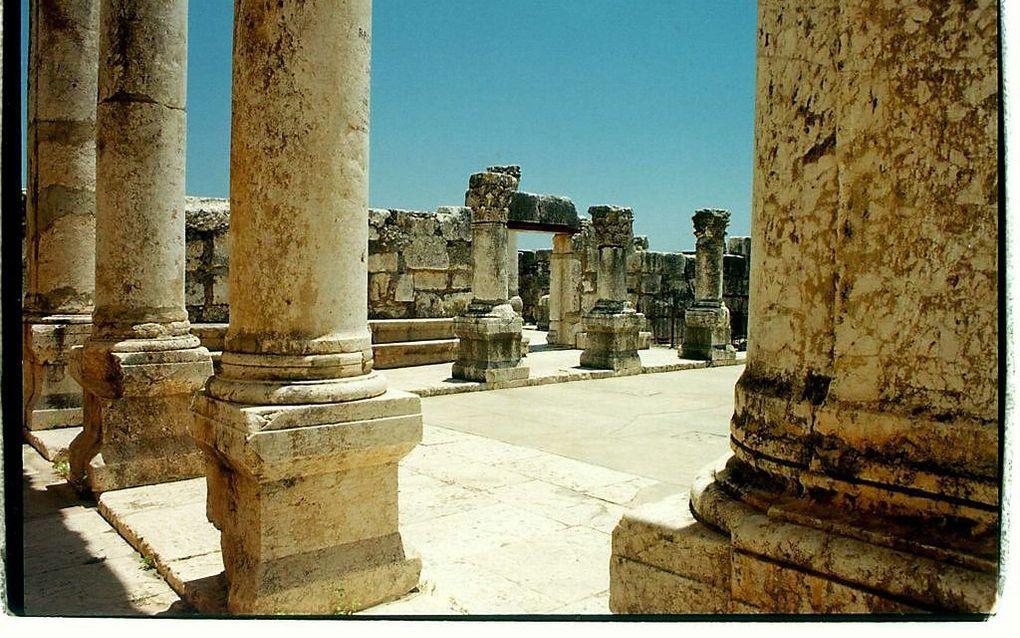 Opgegraven synagoge in Kapernaüm.  beeld Alfred Muller