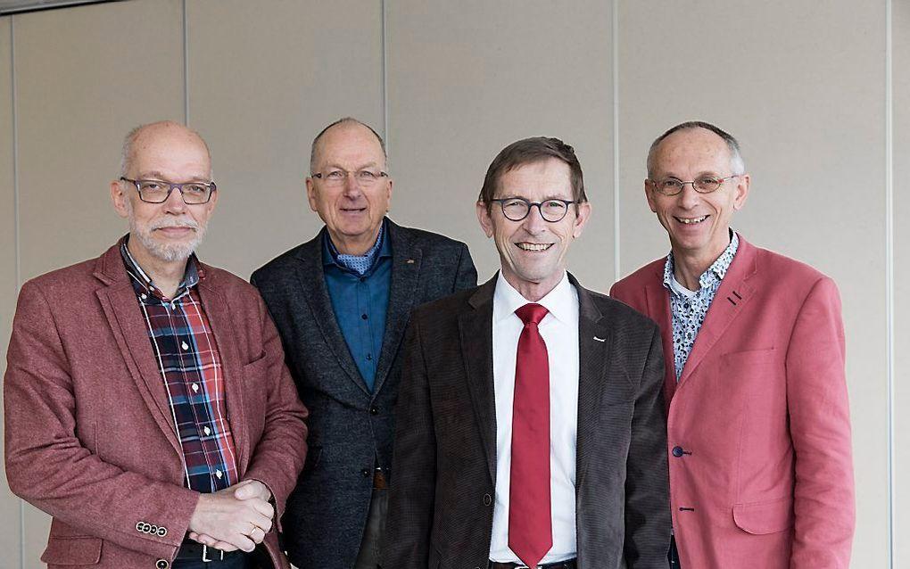 Moderamenleden van de GKV-synode. V.l.n.r. ds. K. Harmannij, H. H. Bouma, dr. M. H. Oosterhuis en dr. W. F. Wisselink. beeld Sjaak Verboom