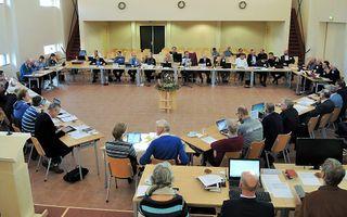 De landelijke vergadering van de NGK in Zeewolde deed in 2014 het voorstel aan de GKV-synode om gesprekken over hereniging te starten. beeld RD