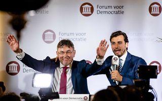 Derk Jan Eppink, de Europese lijsttrekker, en FVD-leider Thierry Baudet. beeld ANP, Bart Maat