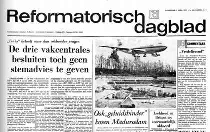 De eerste editie van het Reformatorisch Dagblad verscheen op 1 april 1971. beeld RD