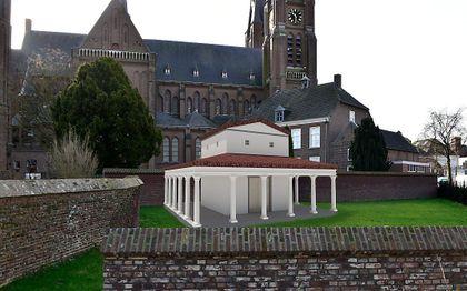 De reconstructie van de tempel. beeld beeld projectgroep herbouw tempel Cuijk
