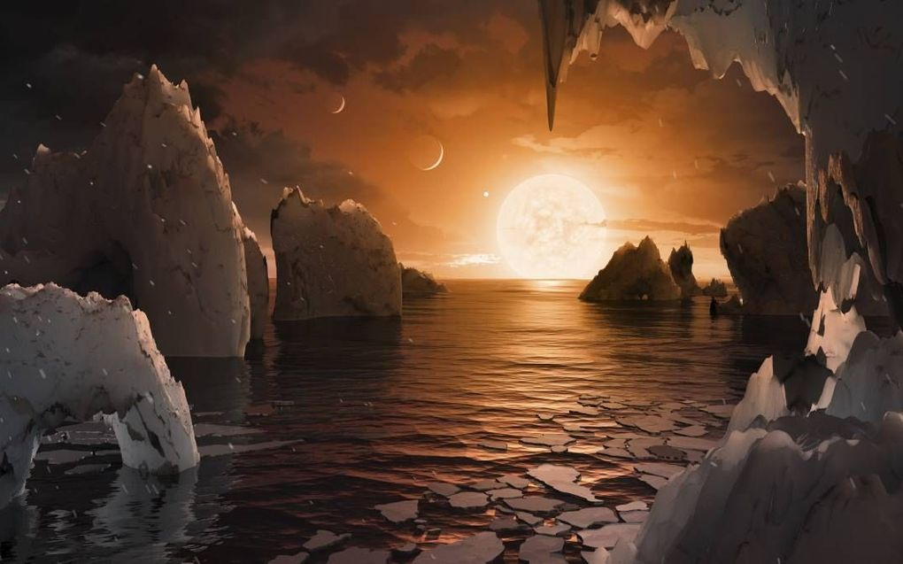 De kans op een tweede aardachtige planeet in ons heelal is onvoorstelbaar klein, kleiner dan 1 op 1exp158, een 1 met 158 nullen. Blind toeval maakt het dus onwaarschijnlijk dat er buitenaardse intelligentie bestaat. beeld NASA, JPL-Caltech, T. Pyle