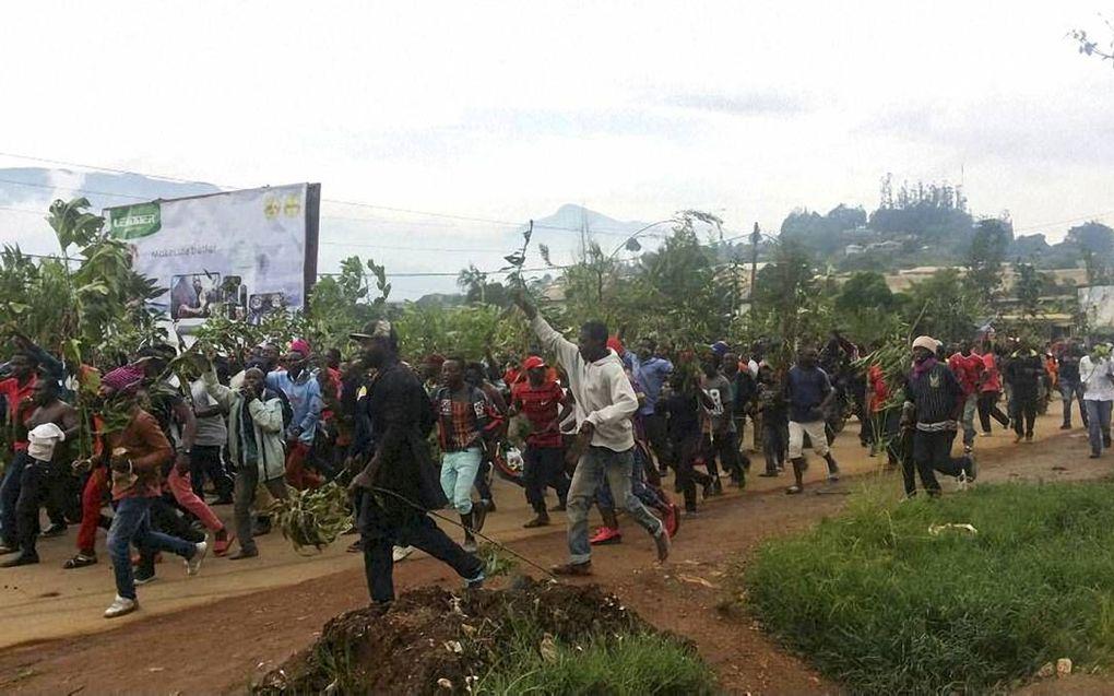 BAMENDA. Demonstranten in Engelstalig Kameroen, 22 september.beeld AFP, Stringer