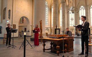 Screenshot van een online kerstconcert van het ensemble. beeld YouTube/Geistliches Consort