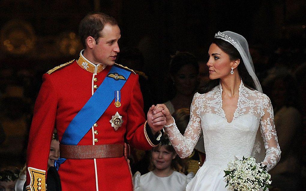 William en Catherine gaven elkaar op 29 april 2011 in het bijzijn van bijna tweeduizend gasten het jawoord in de Westminster Abbey in Londen. beeld AFP, Carl de Souza