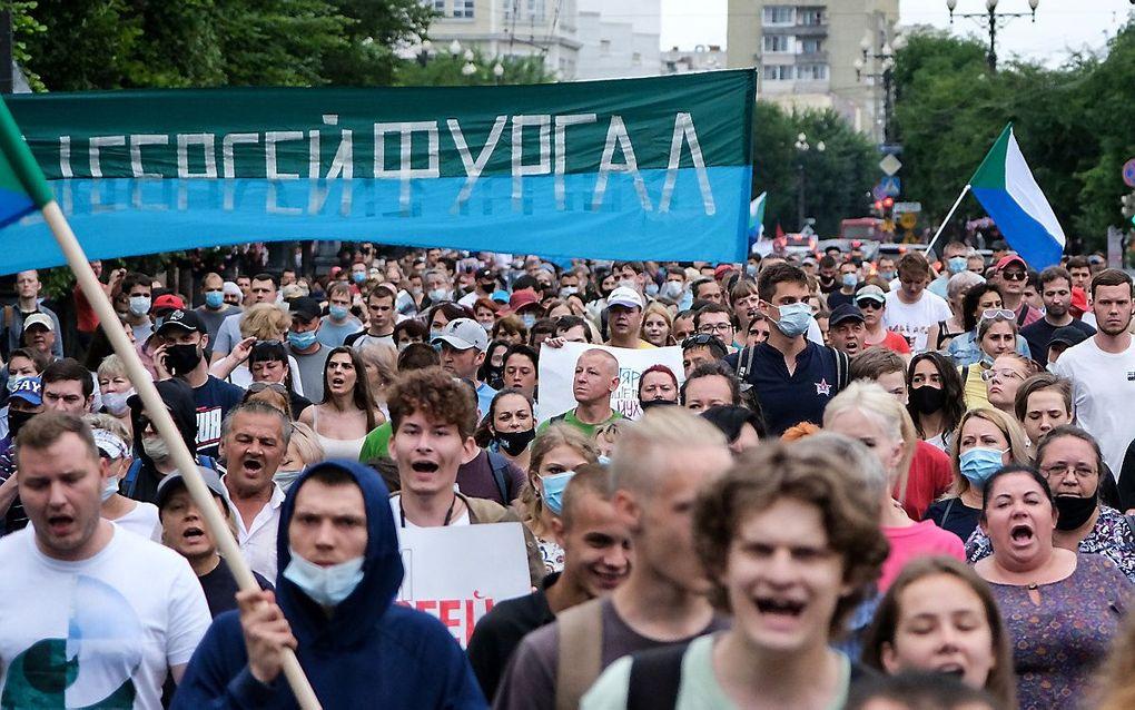 Demonstratie zaterdag in Chabarovsk. beeld AFP