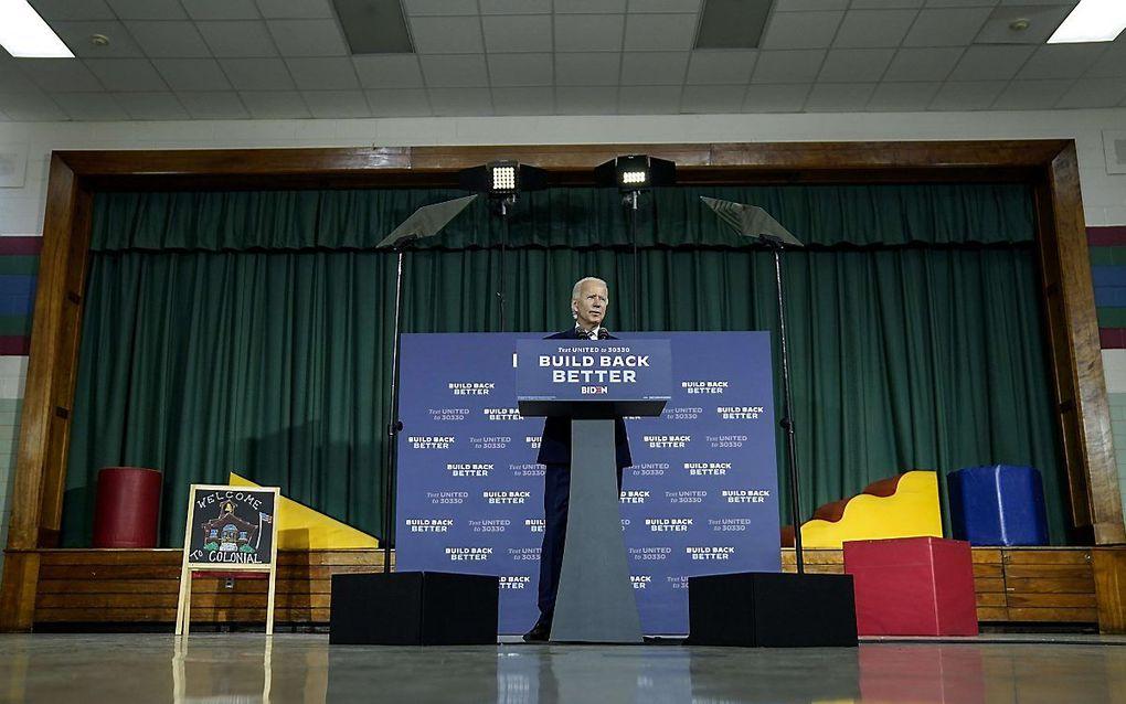 De Democratische presidentskandidaat Joe Biden spreekt op een campagebijeenkomst in New Castle, Delaware. beeld AFP