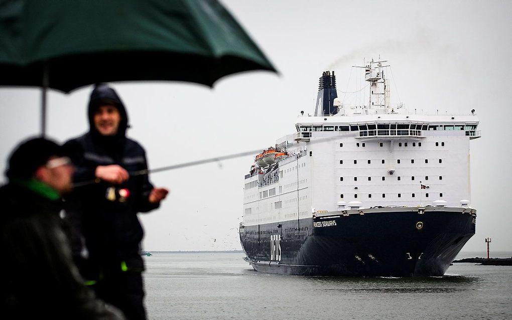 Een ferry uit Newcastle komt aan in IJmuiden. beeld ANP, SEM VAN DER WAL