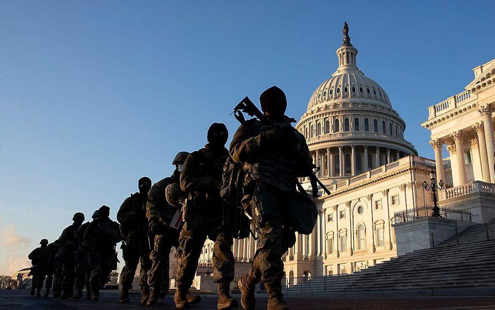 De beveiliging rond het Capitool is enorm aangescherpt. beeld EPA, Michael Reynolds