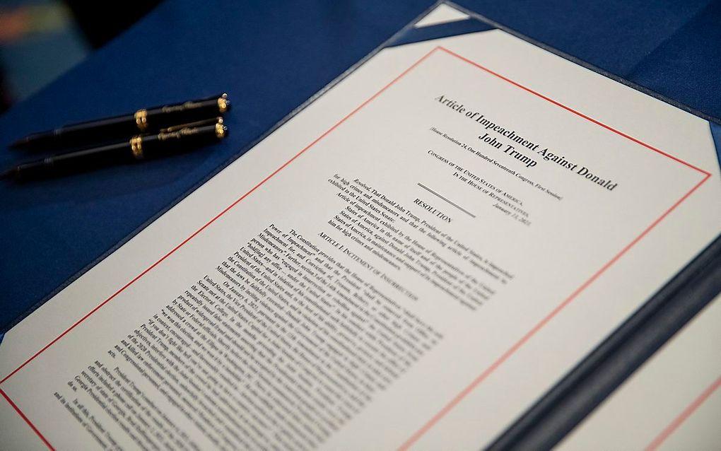Woensdag stemde een meerderheid in het Huis van Afgevaardigden, het lagerhuis van het Amerikaanse parlement, ervoor om voor de tweede keer een afzettingsprocedure tegen Trump te beginnen. beeld EPA, Shawn Thew