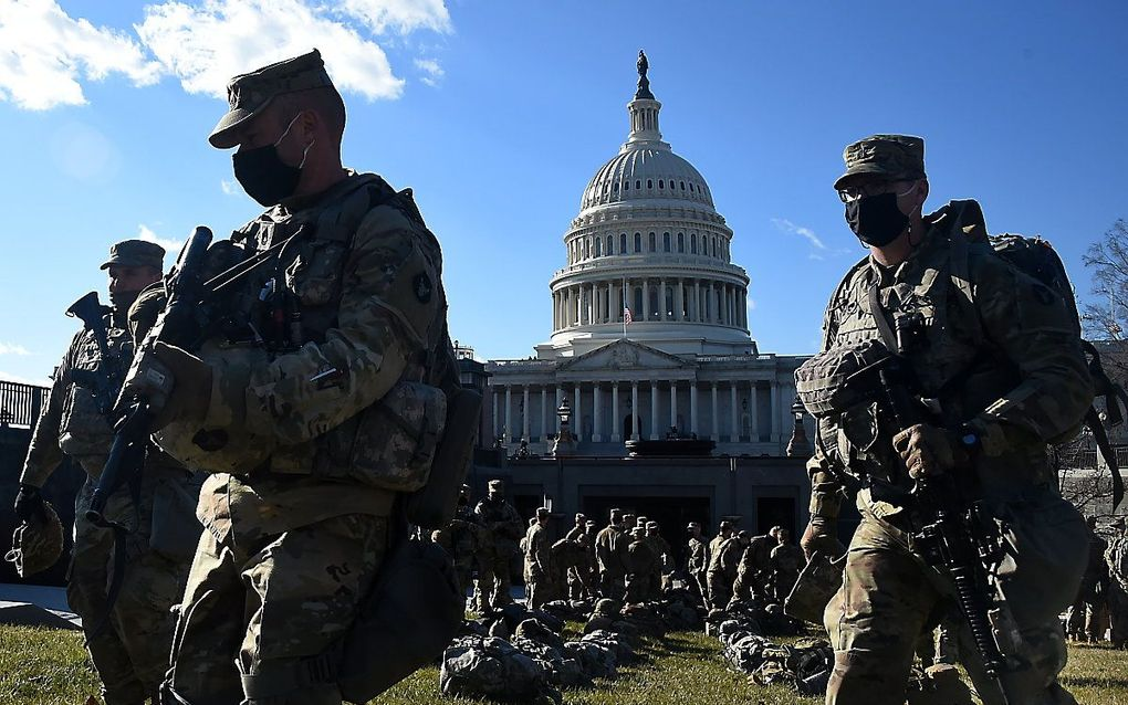 Voorbereidingen voor de inauguratie van Biden. beeld AFP, Olivier DOULIERY