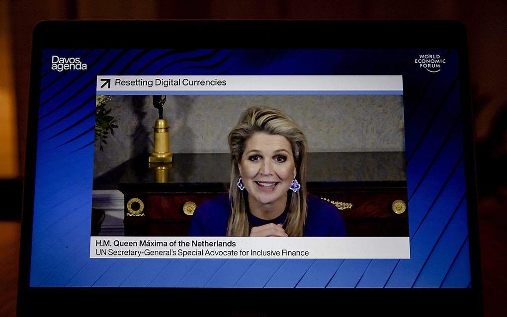 In het panel bespreekt koningin Máxima maandag hoe nieuwe digitale geldvormen zouden kunnen bijdragen aan betere toegang tot en veilig gebruik van financiële diensten. beeld ANP, Robin van Lonkhuijsen