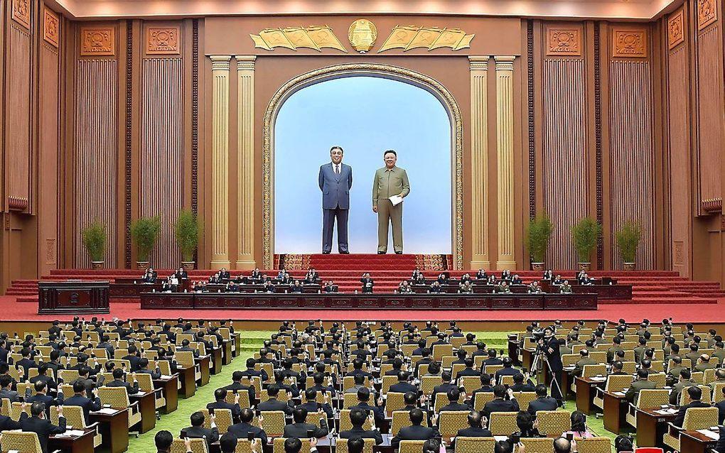 Zitting van de Noord-Koreaanse Volksvergadering, eerder deze maand. beeld EPA