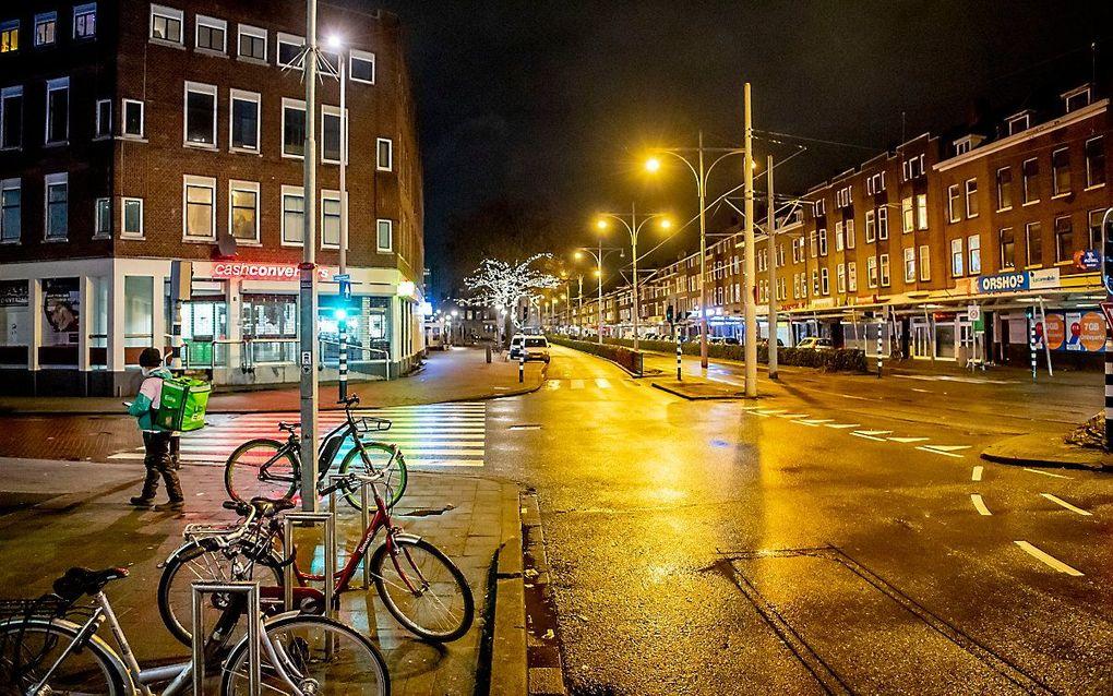 Het bleef rustig in Rotterdam na 21:00. beeld ANP