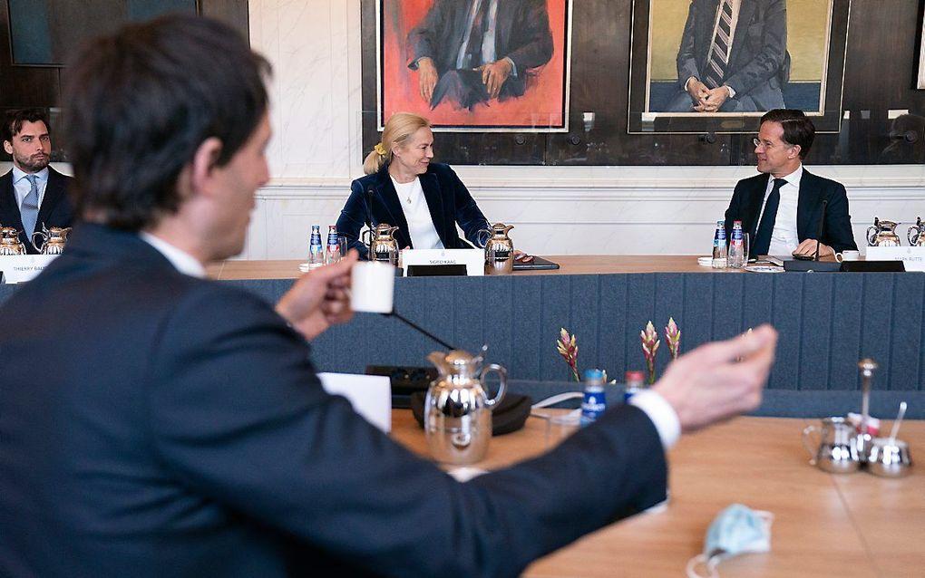 Partijleiders Hoekstra (CDA), Kaag (D66) en Rutte (VVD). beeld ANP, Bart Maat