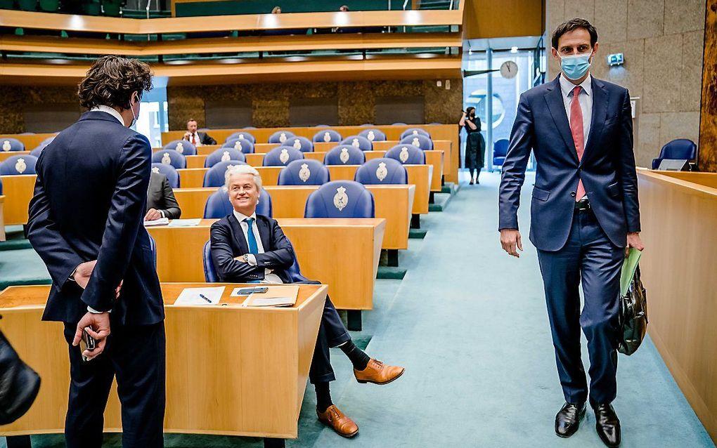 Hoekstra (R), Klaver (L) en Wilders. beeld ANP, Bart Maat