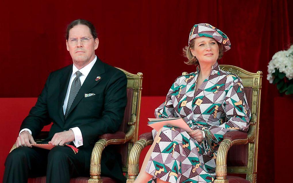 De Belgische prinses Delphine en haar echtgenoot. beeld EPA, Stephanie Lecocq