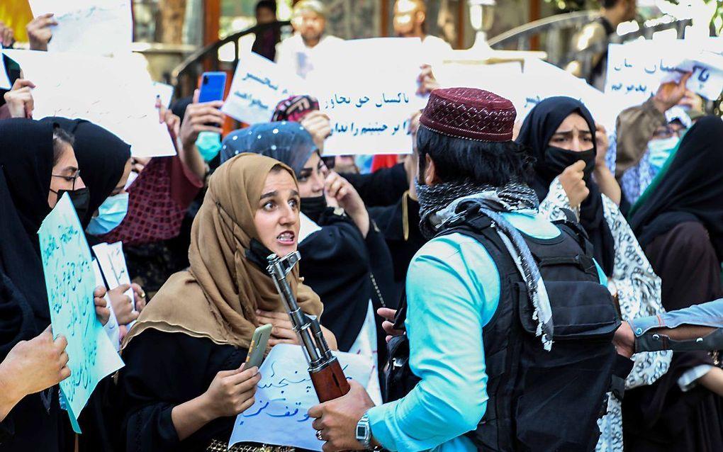 Protest in Kabul, dinsdag. beeld EPA