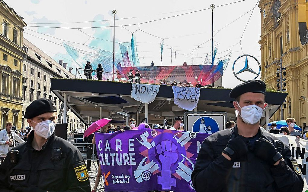 Klimaatprotesten tegen de autoshow IAA Mobility in de Duitse stad München. beeld AFP, Tobias Schwarz
