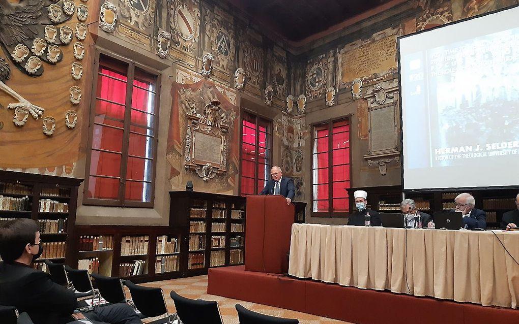 Prof. dr. H. J. Selderhuis, deze week op het G20 Interfaith Forum in Bologna. beeld RD