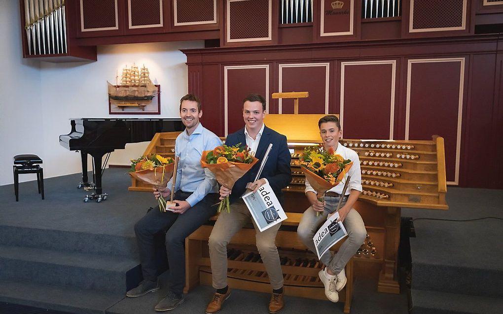 De winnaars (v.l.n.r.): Jan Dubbelhuis, Luuk Schuurman en Joas van Marle. beeld Kees Verhoek