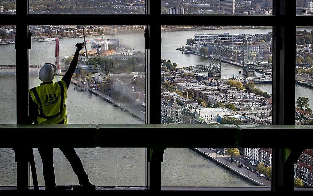 Uitzicht vanuit de Zalmhaven in Rotterdam. beeld ANP, Koen van Weel
