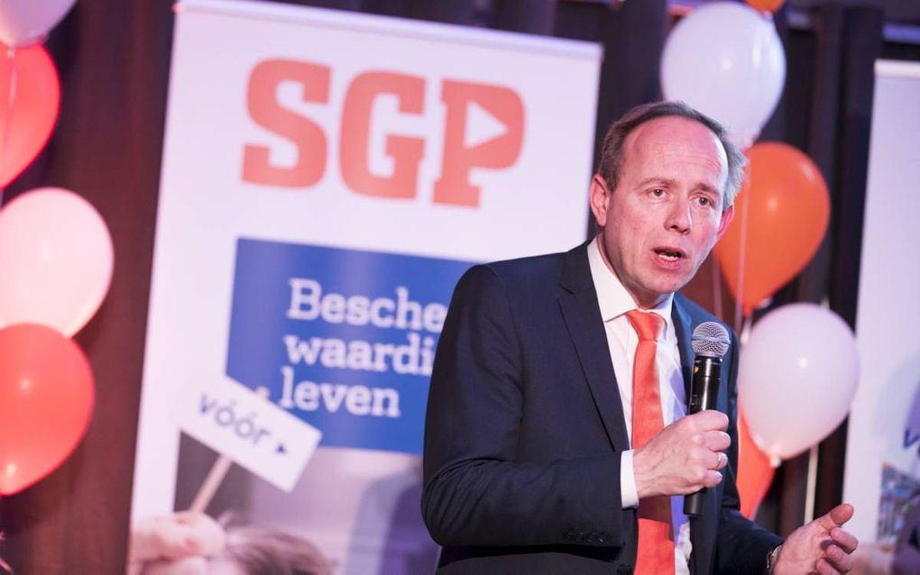 SGP-leider Van der Staaij tijdens de uitslagenavond. beeld ANP, Jeroen Jumelet