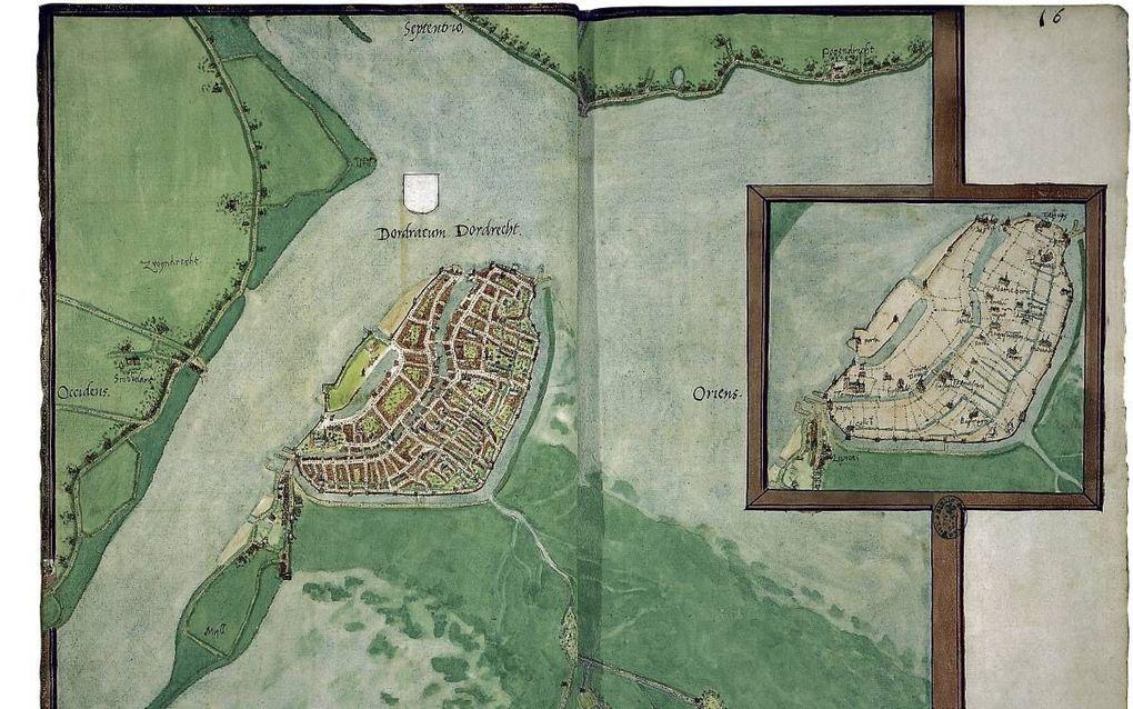 """Kaart van Dordrecht uit de atlas van Jacob van Deventer. beeld """"Stedenatlas Jacob van Deventer"""""""