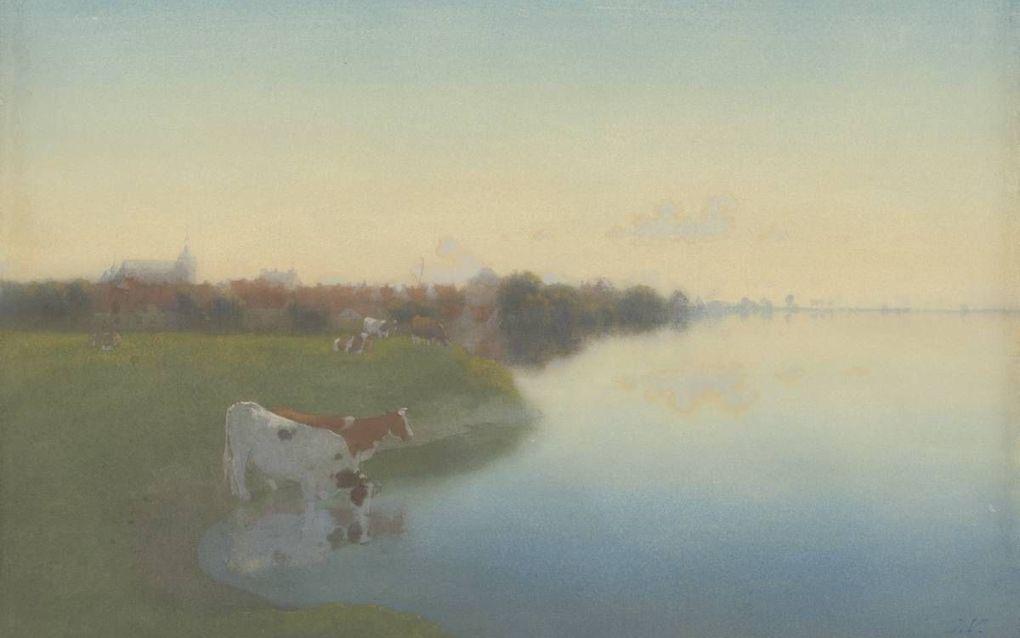"""""""Oever van de IJssel bij Hattem, door Jan Voerman (1867). beelden CODA Museum, Apeldoorn"""