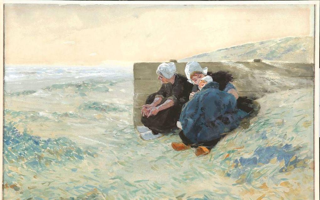 Twee vrouwen en kind, wachtend in de duinen (1893). beeld WBooks