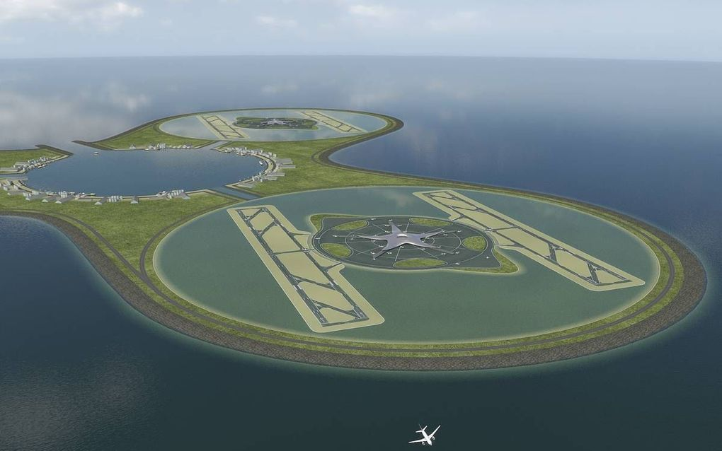 Impressie van een luchthaven in de Noordzee, afkomstig uit een toekomstvisie van Royal HaskoningDHV en baggeraar Van Oord in 2008.beeld Royal HaskoningDHV