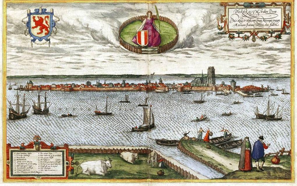 Gezicht op Dordrecht in 1572, door Antwerpenaar Frans Hogenberg. beeld Regionaal Archief Dordrecht