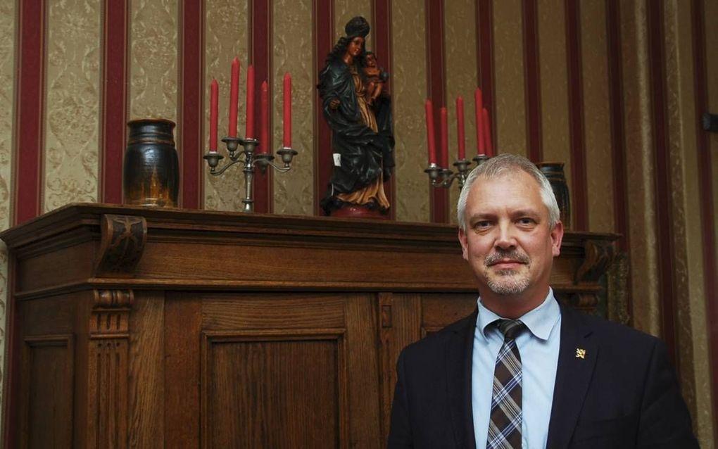 Civitas-campagneleider Hugo Bos strijdt vanuit het Pelgrimshuis in de Heilige Landstichting voor het behoud van de christelijke beschaving in Nederland. beeld Gerard ten Voorde
