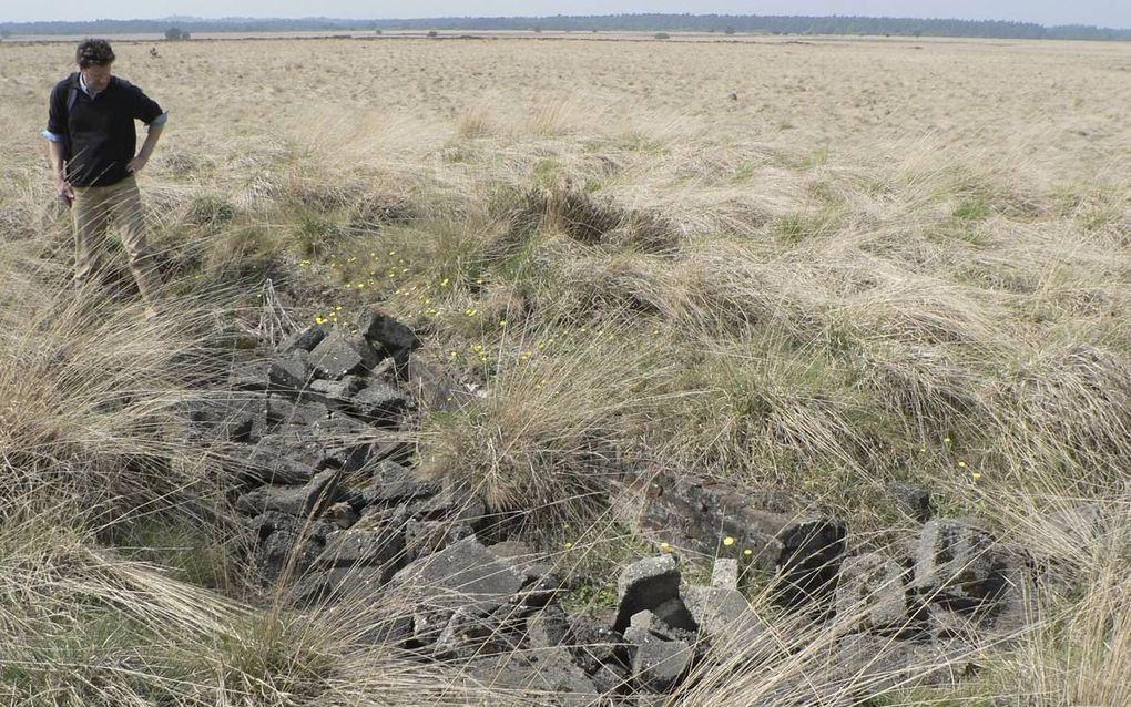 Een onderzoeker bij de resten van een Duitse luchtafweerstelling op de Veluwe.beeld Ruurd Kok
