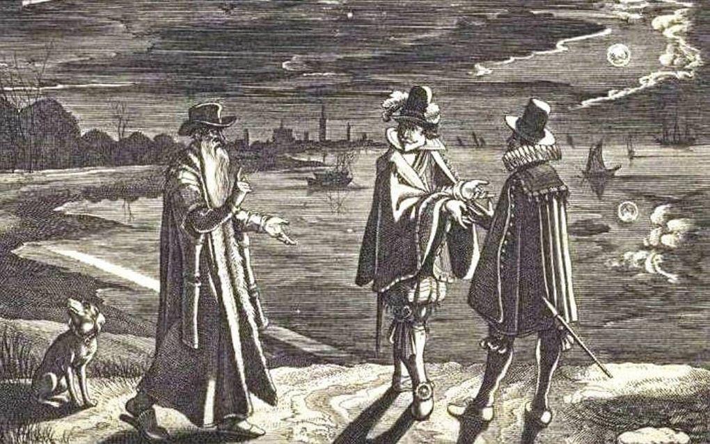 Nederlandse prent van de komeet van Halley in 1618.beeld Rijksmuseum Amsterdam