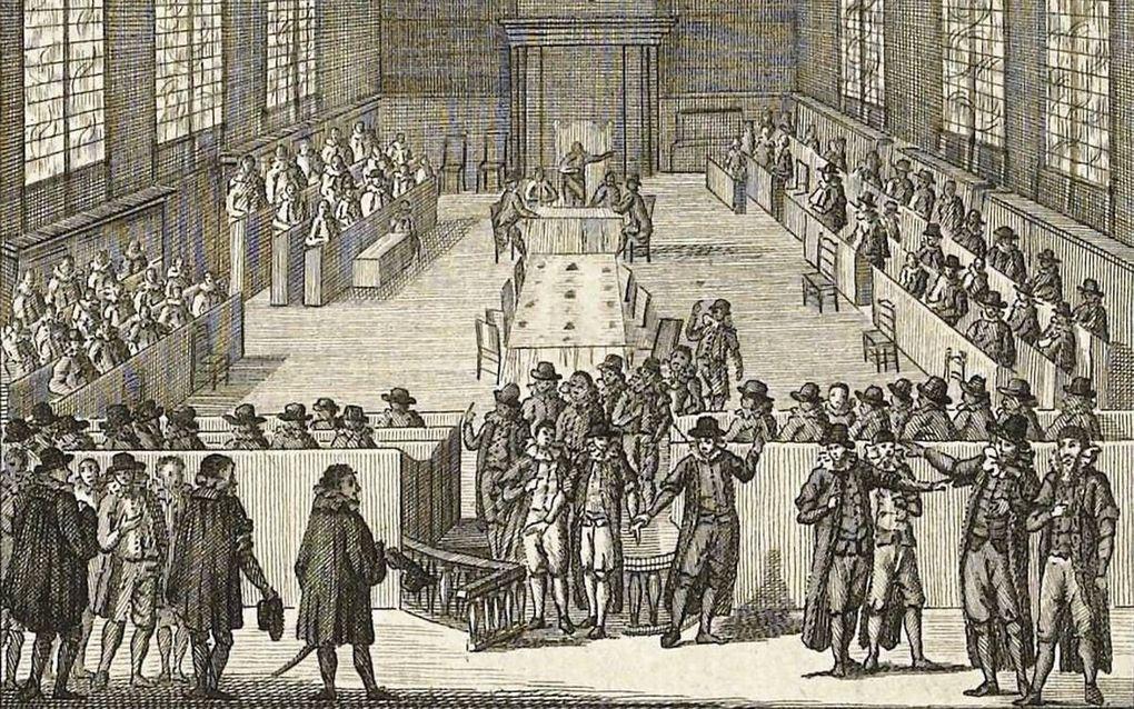 Wegzending van de remonstranten uit de Dordtse synode. Tekening J. Jelgerhuis, circa 1790.beeld Rijksstudio