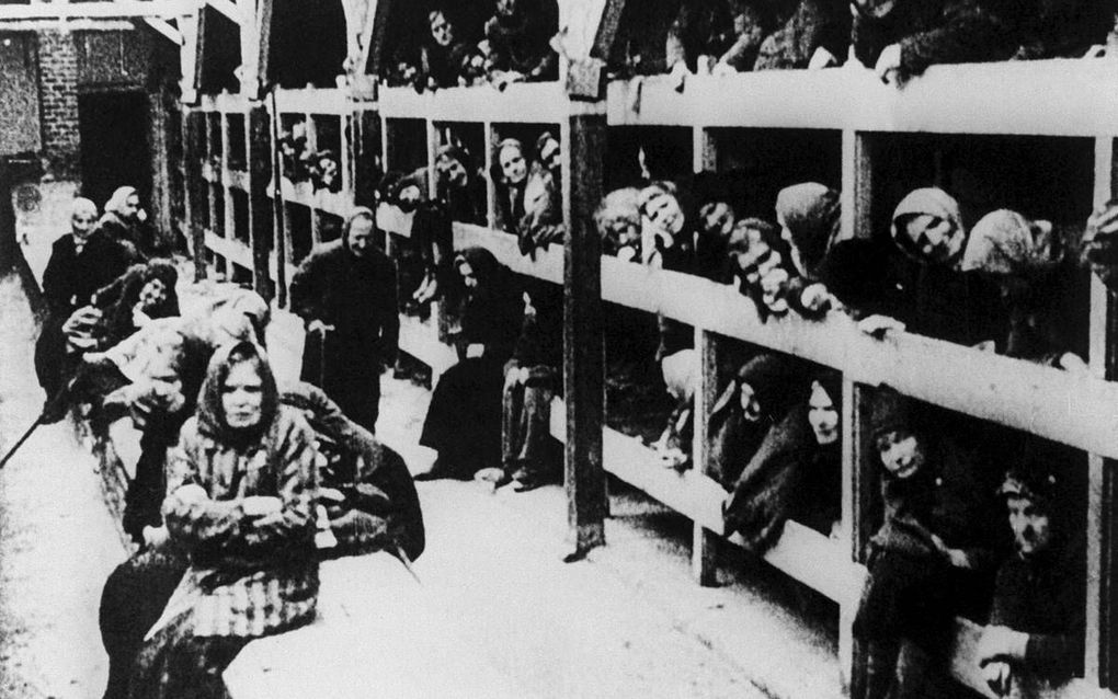 Joodse vrouwen in vernietigingskamp Auschwitz kort na de bevrijding in januari 1945. beeld ANP