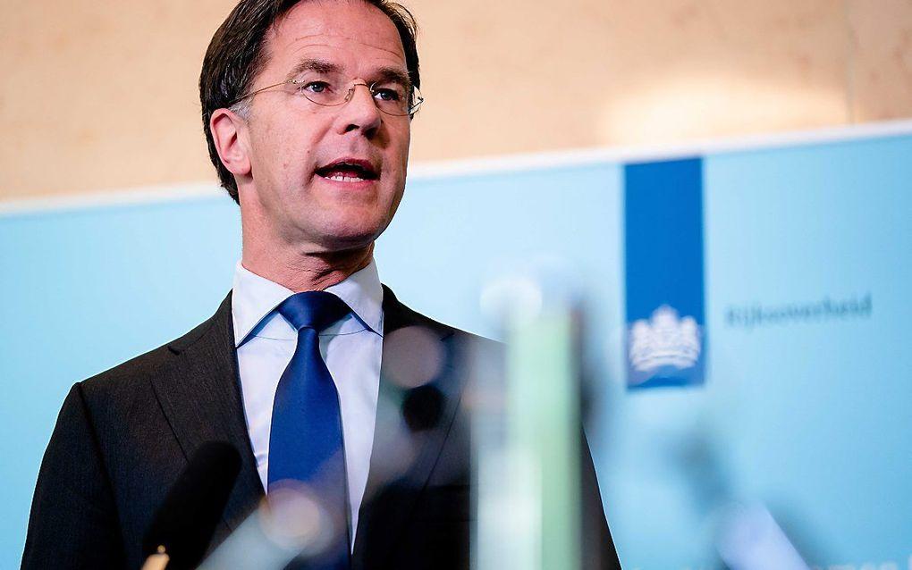 Premier Mark Rutte tijdens de persconferentie woensdag. beeld EPA, Bart Maat