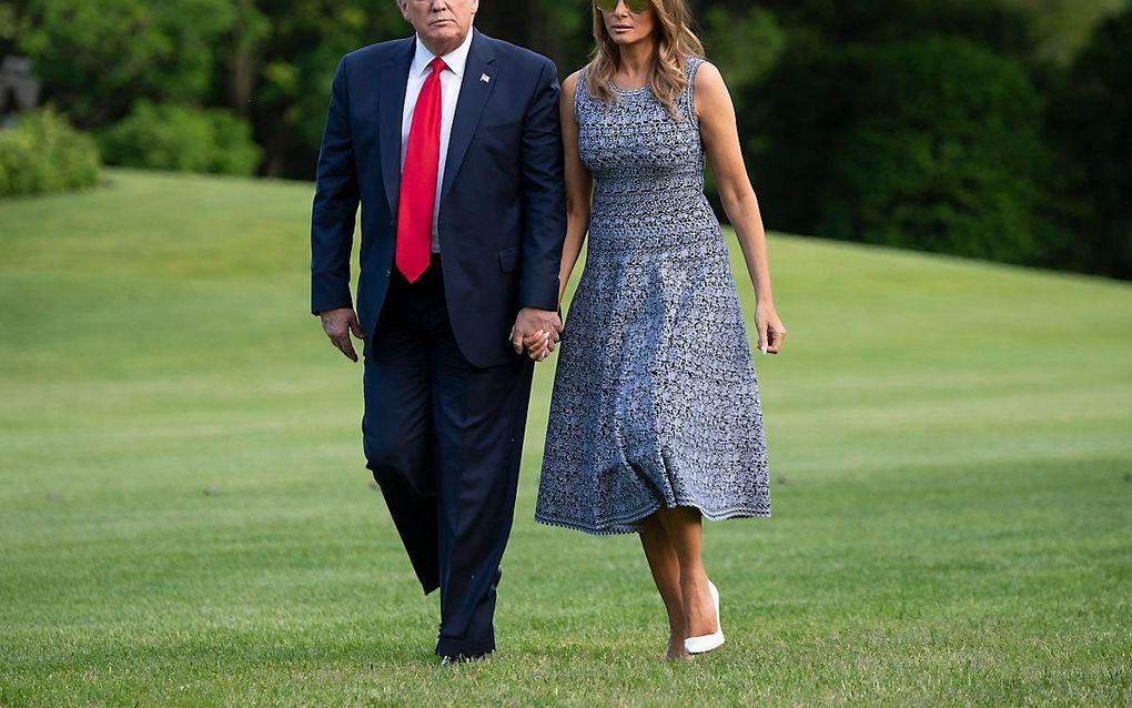De Amerikaanse president Trump en zijn echtgenote, Melania Trump. beeld EPA