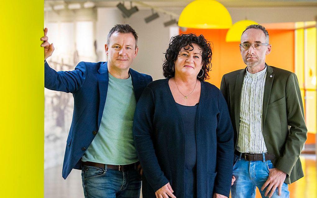 Wim Groot Koerkamp, Caroline van der Plas en Henk Vermeer van de BoerBurgerBeweging. De politieke partij strijdt voor het bestaansrecht van boeren en tuinders. beeld ANP, Piroschka van de Wouw