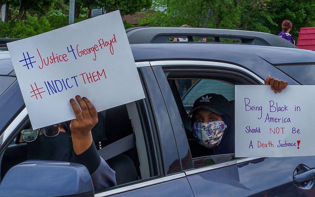 Protest na de dood van de arrestant in Minneapolis. beeld AFP