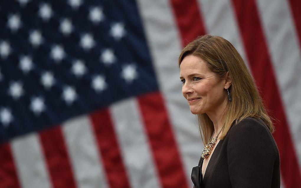De Amerikaanse Senaat stemt naar verwachting maandag over de benoeming van Amy Coney Barrett tot rechter van het federale hooggerechtshof. beeld AFP