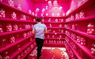 Facebook houdt het al ruim anderhalf decennium vol en er zijn geen tekenen dat het succes van het bedrijf tanende is. Foto: Be Happy! Museum in de Poolse hoofdstad Warschau, waar gebruikers van sociale media zichzelf kunnen fotograferen in een zuurstokroze omgeving. beeld EPA, Albert Zawada