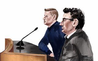 Rechtbanktekening van Martin van de B. en Mathijs IJ. beeld ANP, NICOLE VAN DEN HOUT